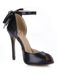 sandales PU noir avec noeud 36e24 Milanoo.com