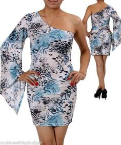 Miss Plus Cocktail Dress One Sleeve Soft Abstract Print Teal Blue Cream $18.80