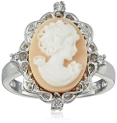 Sterling Silver Pink Cameo Ring with Created White Sapphire, Size 7 Amazon Collection-$26.81 http://www.amazon.com