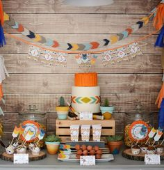 Tribal Little Brave Man themed baby shower (love the colors and theme for Jacob's birthday party)! Cadeau Baby Shower, Idee Baby Shower, Tribal Baby Shower, Baby Shower Themes, Baby Boy Shower, Shower Ideas, Indian Birthday Parties, Indian Party, Indian Theme