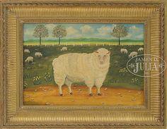 AMERICAN SCHOOL FOLK ART LANDSCAPE WITH SHEEP.