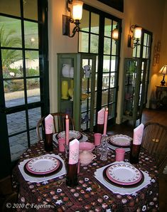 Valentine's Day tablescape - LOVE the candy tablecloth!!!