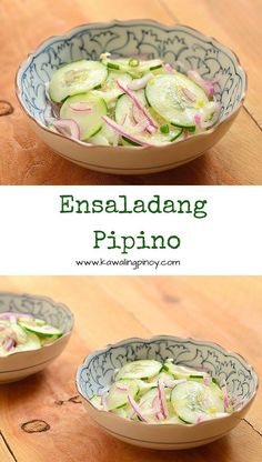 Ensaladang Pipino is a Filipino-style salad made with sliced cucumbers and red onions dressed in a mixture of vinegar, fish sauce and chili peppers - Sub ampalaya Filipino Vegetable Recipes, Filipino Recipes, Veggie Recipes, Asian Recipes, Cooking Recipes, Healthy Recipes, Ethnic Recipes, Pinoy Recipe, Healthy Food