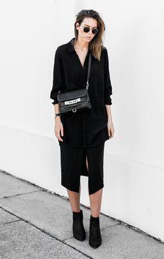 black shirt + front split midi skirt + ps11 #allblack