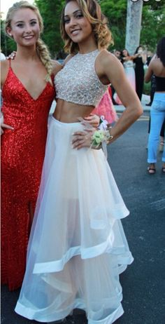 Two Pieces Prom Dress Evening Party Gown pst0863