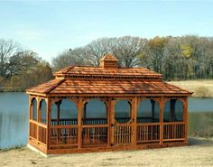 Red Cedar Double Roof Rectangle Gazebos