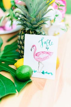 flamingo table number - photo by Madison Short Photography http://ruffledblog.com/sunny-palm-springs-wedding-inspiration