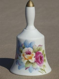 japanese crystal bells | vintage Lefton bisque china bell, table bell w/ hand-painted flowers