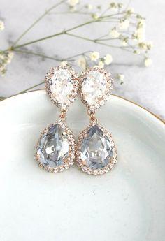 9c6d096e7 Dusty Blue Earrings, Bridal Dusty Blue Earrings, Blue Chandeliers Earrings, Dusty  Blue Crystal Swarovski Earrings, Bridal Drop Earrings