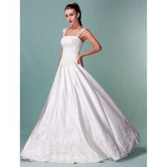 Princess Floor-length Satin Wedding Dress With Beaded Appliques