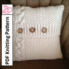 PDF KNITTING PATTERN - Braided Cable 20x 20 chunky knit pillow cover