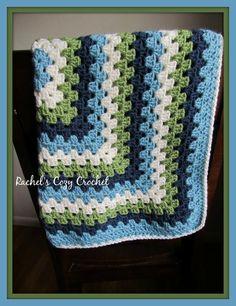 Baby Boy Crochet Blanket Modern Granny by RachelsCozyCrochet, $28.00