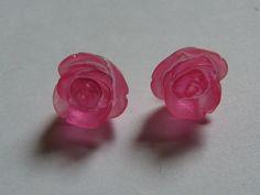 Pink Rose Stud Earrings     831 by ritascraftsandmore on Etsy