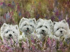 Mary SPARROW West Highland westies Lavender Field Wildflowers dog art painting pet portrait From Hanging the Moon Studio