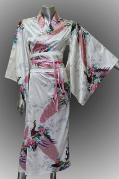 Bridesmaid Silk Robes White Painting Peacock Design by thaichill, $35.59