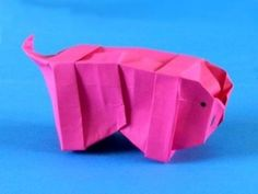 Origami Piggy Bank - Uploaded on Aug 28, 2011 Funny origami piggy bank which really can be used. I have diagrams here: http://joostlangeveldorigami.nl/diagr...