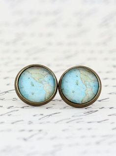 Map Earrings Map Jewelry Vintage Map Print.... Like the idea, just not as studs