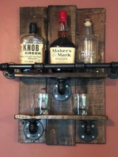 Bourbon Bottle Display Shelf Great For Man Caves In 2019