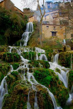 Waterfall In Orbaneja Del Castillo Burgos Spain. Here you relax with these backyard landscaping ideas and landscape design. Places Around The World, Travel Around The World, Around The Worlds, Beautiful Waterfalls, Beautiful Landscapes, Places To Travel, Places To See, Wonderful Places, Beautiful Places