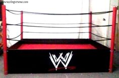 Wrestling Ring Bed with Ropes Wwe Bedroom, Bedroom Themes, Room Decor Bedroom, Bedroom Ideas, Wrestling Ring Bed, Wrestling Wwe, Diy Wwe, Boy Room, Kids Room
