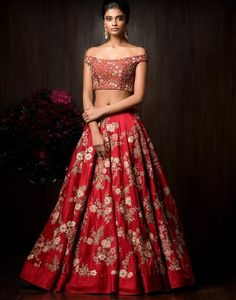 Red Off-Shoulder Choli With Embroidered Wedding Lehenga