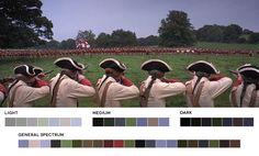 Nice primary mix of colours (blue, green, red). Barry Lyndon (1975), Dir. Stanley Kubrick, DP. John Alcott