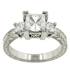 Tacori 3 Stone Princess Cut Diamond Engraved Engagement Ring Diamond yes please