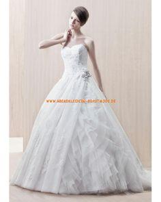 Romantische luxuriöse Brautkleider aus Satin A-Linie Applikation Kapelleschleppe