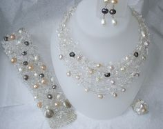 White Spring Wedding Unique Necklace Bridal by BlueRoomBijoux, $148.00