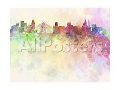 Sao Paulo Skyline in Watercolor Background by donatas1205 Landscapes Art Print - 61 x 46 cm