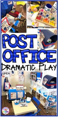 Post Office Dramatic Play - Pocket of Preschool How to set up a Post Office in the dramatic play or pretend center and embed a ton of math and literacy experiences into their play! Perfect for preschool, pre-k, and kindergarten classrooms. Preschool Centers, Preschool Classroom, Preschool Learning, Preschool Activities, Teaching Kindergarten, Center Ideas For Kindergarten, Family Activities, Preschool Set Up, Classroom Labels