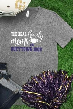 The Real Rowdy Moms V-Neck Tee *Personalize your School and Colors*