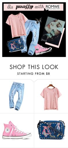 """""""Be Different - Ripped Tshirt Romwe"""" by semplicementesandra ❤ liked on Polyvore featuring Converse and Valentino"""