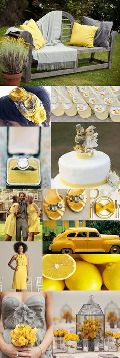 Trendy Wedding Colors Yellow And Grey Center Pieces 30 Ideas Yellow Wedding Colors, Yellow Grey Weddings, Yellow Theme, Gray Weddings, Yellow Car, Rustic Wedding, Our Wedding, Dream Wedding, Wedding Bench