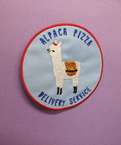 Alpaca Pizza Delivery Service IronOn Patch by catrabbitplush
