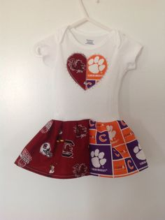 South Carolina  Clemson House Divided Onesie Dress by quiltsbykym, $20.00