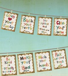 manners cards, set of 8. these would be adorable framed & hung up above backpack hooks