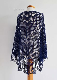 942 Blue indigo crochet shawl by BernioliesDesigns, via Flickr
