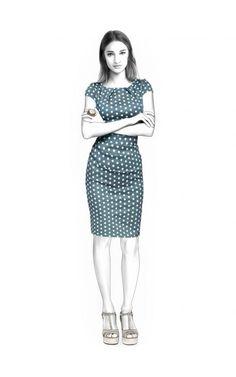 Jurk - Naaipatroon #4589 Made-to-measure sewing pattern from Lekala with free online download. Normale pasvorm, Figuurnaden, Pleats, Rits, Ronde hals, Zonder kraag, Korte mouwen, Knielengte, Rechte rok, Geen zakken