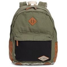 Junior Billabong 'Hidden Trek' Geo Print Canvas Backpack ($55) ❤ liked on Polyvore featuring bags, backpacks, moss, canvas sports bag, beach bags, billabong backpacks, canvas rucksack and canvas sport bag