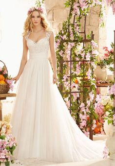 White/Ivory Lace Empire A-Line Chapel Chiffon Wedding Dress Bridal Gown Custom