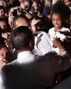 """President Barack Obama saw our shirt at a rally in Ohio. He told this little girl, """"I like your shirt"""" when he touched her hand!    www.prettybrowngirl.com"""