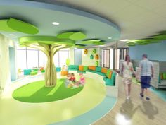 How the hospital's new reception area will look. How the hospital's new reception area will look. Daycare Design, School Library Design, Kids Library, Playroom Design, Kindergarten Interior, Kindergarten Design, School Reception, Reception Areas, Clinic Design