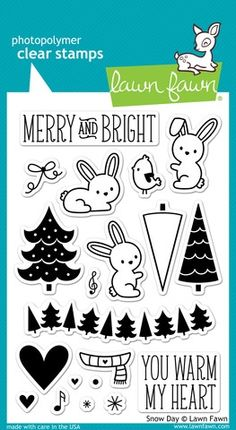 - These 20 clear stamps are sure to warm your heart this winter! This set contains cute bunnies, winter trees, sentiments, and other stamps to coordinate with the Snow Day collection. - This stamp set Lawn Fawn Blog, Tampons Transparents, Lawn Fawn Stamps, Winter Trees, Xmas Trees, Winter Hats, Fall Winter, Digi Stamps, Whimsy Stamps