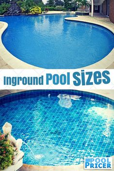 A rundown of common inground pool sizes and how to pick the right size for your pool. Includes three broad questions to ask yourself to determine whether you need a small pool, a large pool, or something in between. Pool Sizes Inground, Small Inground Pool, Inground Pool Designs, Small Swimming Pools, Small Backyard Pools, Small Pools, Swimming Pools Backyard, Pool Landscaping, Pool Cost