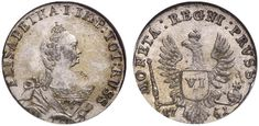 VI Groschen. Russian Coins. Russian Coinage for East Prussia. Moscow mint, 1761. ELISABETHA.I. Bit 808. R! Choice uncirculated. Price realized 2011: 2.400 USD.