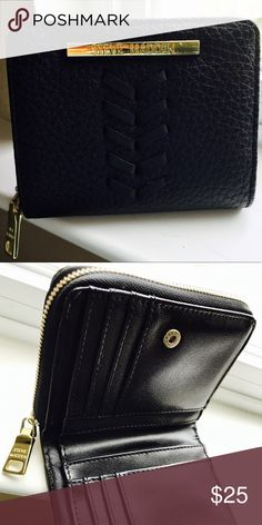 Black Steve Madden wallet Small black , Folded leather wallet- practical for everyday use / fits into just about any purse! Steve Madden Bags Wallets
