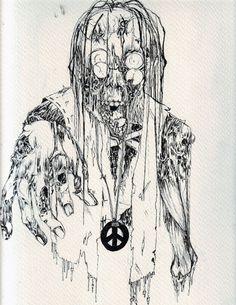 Hippie Zombie Line Art by ~Harlequin-Ink on deviantART