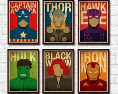 Avenger Minimalist Superheroes Vintage Poster Set of 6