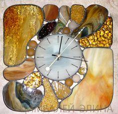"""Витражные часы """"Морские камушки...."""" - часы настенные,часы необычные,авторские часы"""